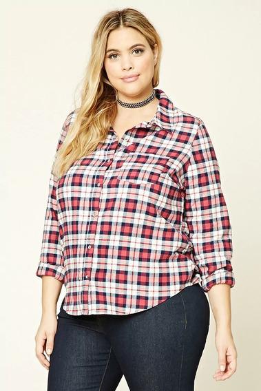 Camisa Forever 21 Plus Flannel Escosesa T.grande X2 De Usa