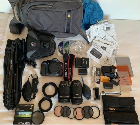 Kit Camera Canon 70d Com Lente 18-135 E 55-200 Completo