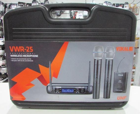 Microfone Sem Fio Duplo Vwr-25hh Headset Vokal Visor Digital