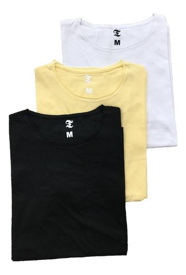 Remera Lisa Basica Hombre Slim Fit Entallada Pack X3