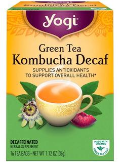 Chá Yogi Green Tea Kombucha Decaf 16 Tea Bags Descafeínado