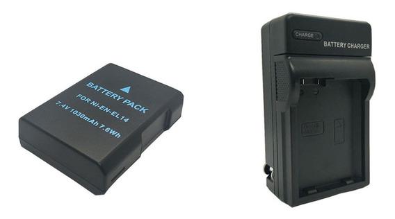 1 Pcs Bateria En-el14 D3100 D3200 D3300 + 1 Pcs Carregador