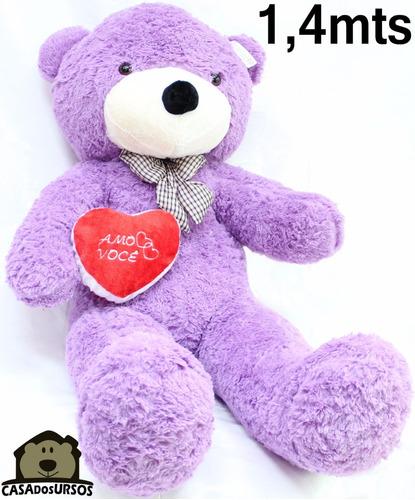 Imagem 1 de 10 de Urso Romântico Gigante Lilás Bicho De Pelúcia 1,40 + Coração