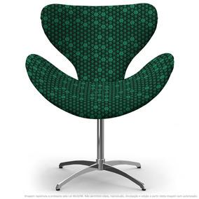 Cadeira Egg Colmeia Verde E Preto Com Base Giratória