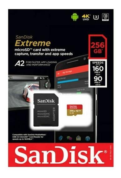 Cartão De Memória Microsd 256gb Extreme Gravações Em 4k