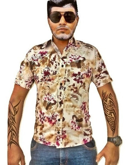 Camisa Masculina Floral Manga Curta Slim Fit Marrom Claro