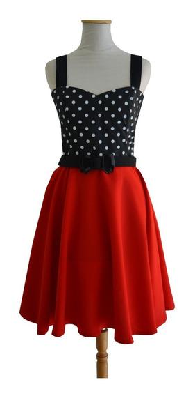 Vestido Pin Up Retro Lunares Rojo Vintage Cinto Moño