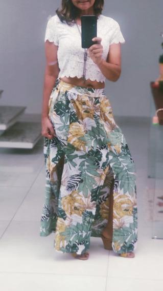 Look Completo Saia Feminino Florida Fenda + Blusa Renda