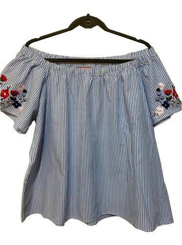 Blusa Camisola Escote Fruncido Para Hombros Bordada Yagmour