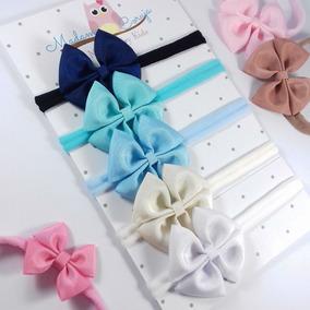 Kit Com 5 Faixas De Cabelo Para Bebê Menina Com Laço Tiara