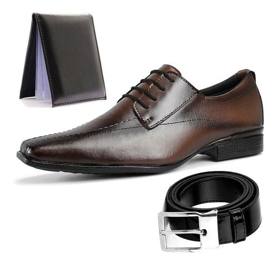Sapato Social Masculino + Cinto E Carteira Com Frete Grátis