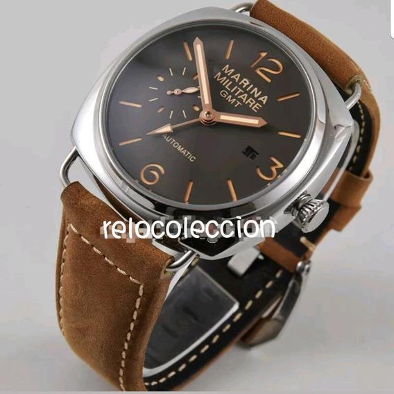 Reloj Mar Ina Militar 44mm Gmt Piel Café Automático Nuevo