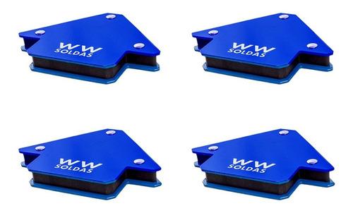 Imagem 1 de 6 de Esquadro Magnetico 4 Peças - 12kg /25lbs Para Solda Wwsoldas
