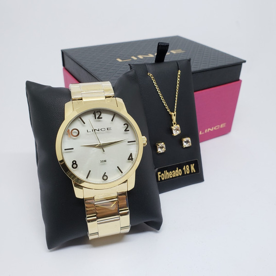 Kit Relógio Brinco Feminino Lince Lrg4374l