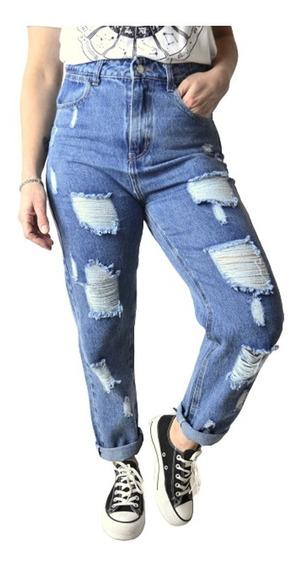 Pantalon Jean Mom Tiro Alto Boyfriend Mujer The Big Shop
