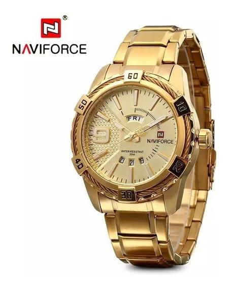 Relógio Naviforce Gold Laçamento Envio Imediato