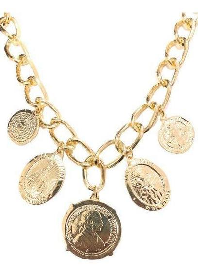 Colar Juliana Paes Com Medalhão - Banho Em Ouro 18k