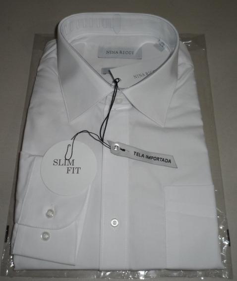 Camisa De Vestir Blanca Nina Ricci Manga Larga Talla 44 17½