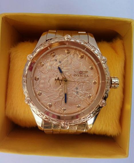 Relógio Masculino Dourado Luxo Pesado Top Atacado Revenda
