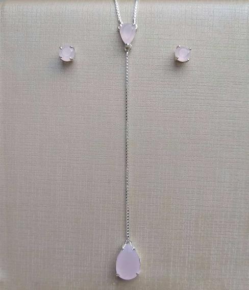 Conjunto Prata 925 Gravatinha De Gotas Quartzo Rosa Delicado