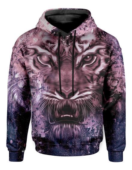 Moletom Com Capuz Unissex Tigre Tie Dye Md04