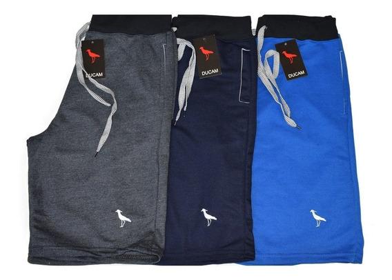 Kit Com 5 Bermudas Shorts Moletom Masculinos Atacado Revenda