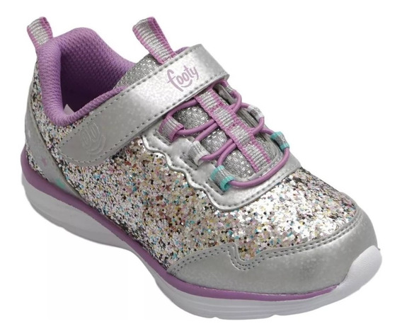 Zapatillas Footy Plateadas/rosa Ultralivianas Fty Calzados