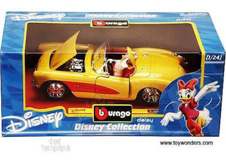 Miniatura Burago Disney Daisy Corvette 1957 Amarelo 1/24