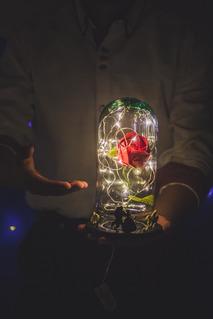 Rosa Eterna Luz Led Origami Bella Y Bestia! Eventos! Mayoreo