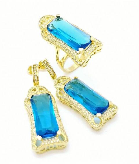 Anel Brincos Azul Topázio Cravação Banhado De Ouro 2389 2390