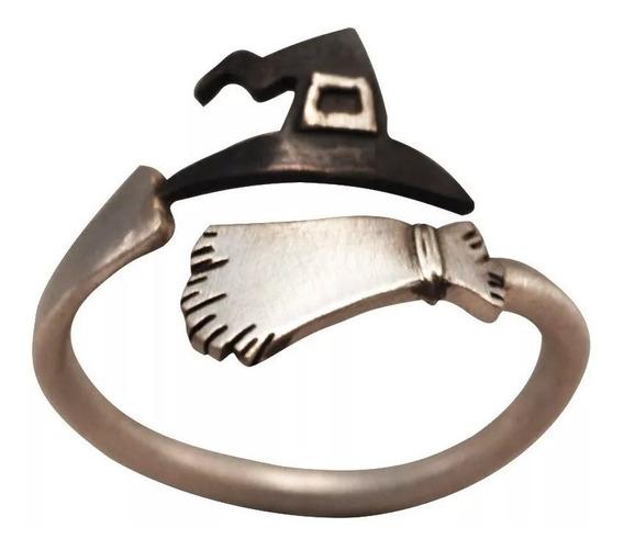 Anel Vassoura De Bruxa E Chapéu, Ajustável -banhado Em Prata