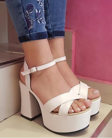 Zapato Sandalias De Mujer Con Plataforma Taco Cruzada 2506