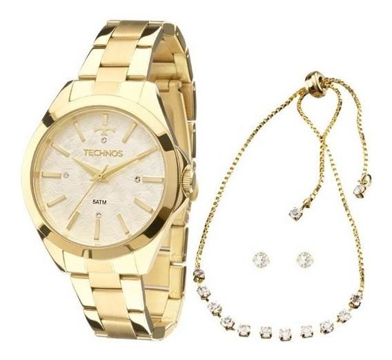 Relógio Technos Feminino Dourado Com Pulseira De Brinde