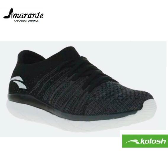 Tenis Feminino Cabedal Preto Esportivo Kolosh K8211