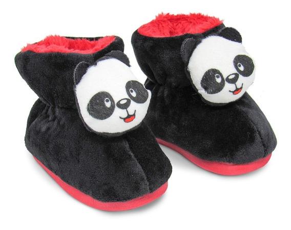Pantufa Bota 3d Infantil Panda Pelúcia - Solado Ferpa