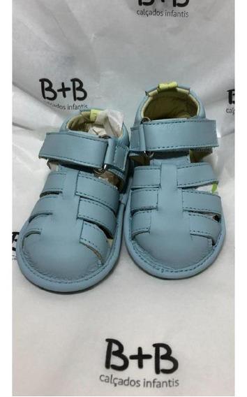 Sandalia Bebe Couro Azul B+b Menino Velcro