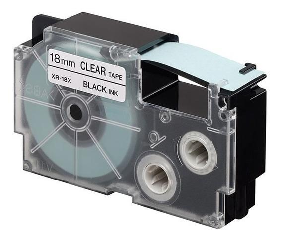Cinta Para Rotulador Casio Xr-18x1 18mmx8 Negro/transparente