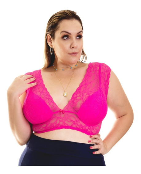 Top Cropped De Renda Neon Com Alça Larga Plus Size