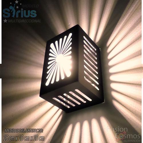 Imagen 1 de 10 de Aplique Pared Exterior Bidireccional Moderno Efecto Estelar Fx Apto Led Jardin Luces Tortuga Difusor Hierro Iluminación