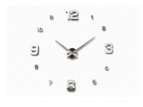 Reloj De Pared 3d Mini   50 X 50   Platiado