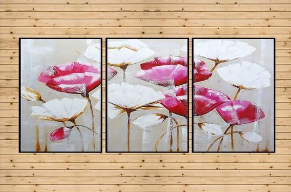 Quadro Decorativo Flores Rosa Presente Dia Das Mães 90x42cm