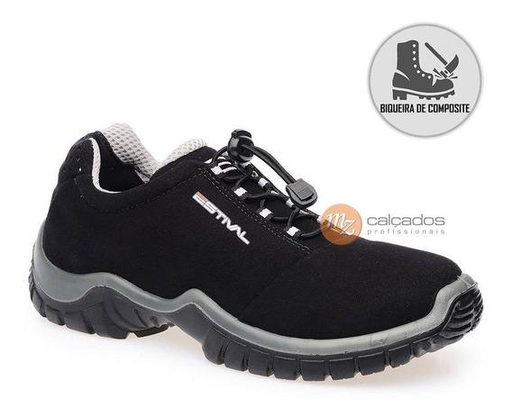 Tenis Segurança Preto/cinza Bico Composite Estival Ca 42554
