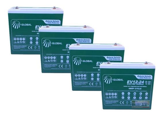 Kit Bateria Gel 4un 24ah 12v Bike Elétrica 6-dzm-20 Global