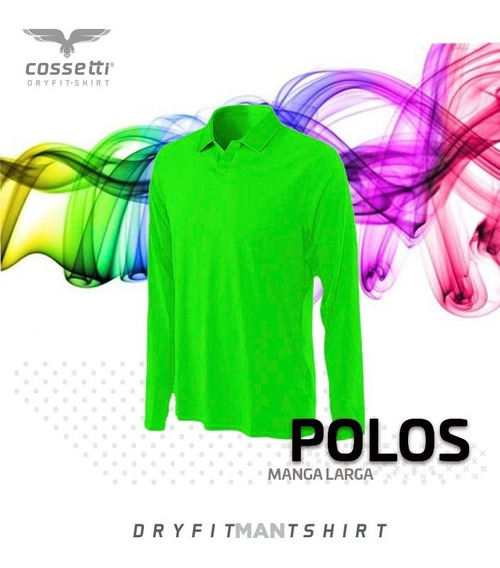 Playera Tipo Polo Cossetti Larga Dry Fit Colores Neón Xl 2xl