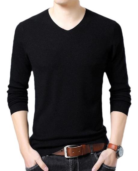 Ter Camisola De Suéter Casual De Cashmere Com Decote Em V S