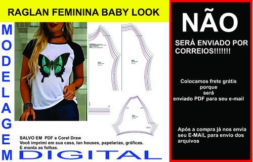 Moldes Modelagem Camiseta Raglan Feminina Baby Look Promoção