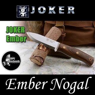Cuchillo Bushcraft Español Joker Ember Madera De Nogal