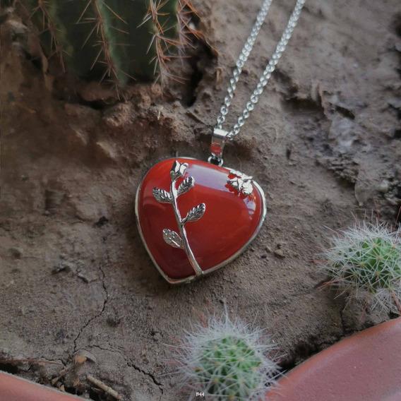 Collar Cuarzo Cornalina Corazón Floral Cadena Acero