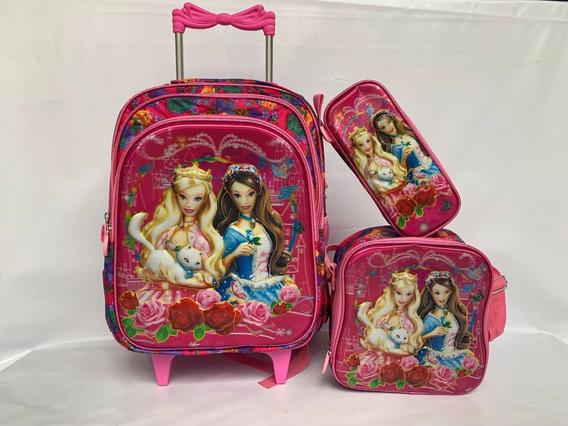 Kit Mochila Barbie Infantil Lancheira +estojo Rodinhas 6d Tan G