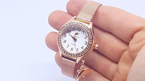 Relógio Vintage Retro Feminino Pequeno Delicado Rose Barato
